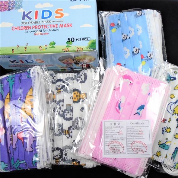Kid Disposable Protective Masks Printed Styles   50 pcs per bx