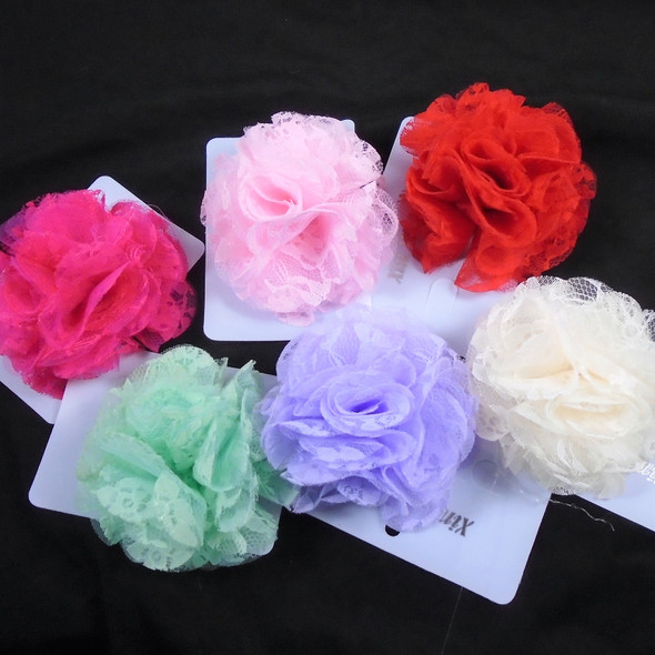 "SPECIAL 3.5"" Mixed Color Lace Bows on Gator Clip  .29 each"