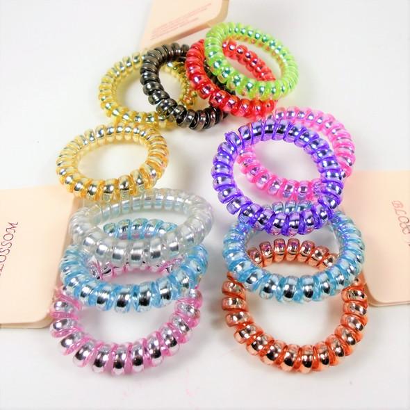 Popular 4 Pack Shiny Lite Color Mix Phone Cord Look Ponytailers/Bracelet .56 per set