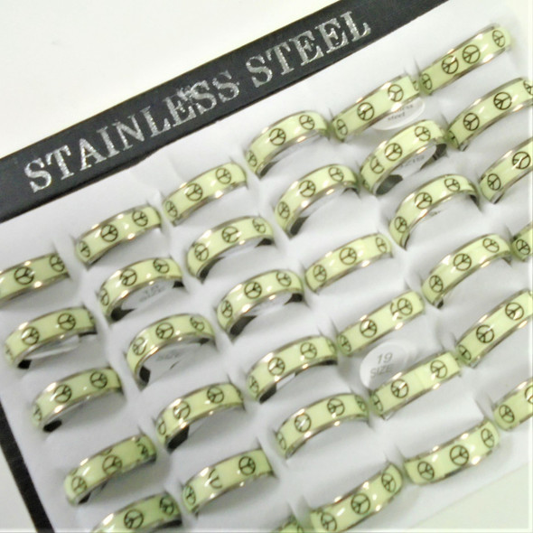 Stainless Steel Best Peace Sign  Print Band Rings Glo in the Dark 36 per box  .35  ea