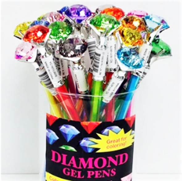 "Mixed  Color 7"" Diamond Top Gel Pens 24 per display . 58 each"