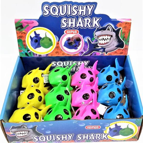 "3.5""  Rainbow Bead Squish/Stress  Balls Shark Theme  12 per display box .83 ea"