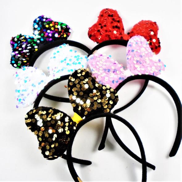 Big Sequin Bow  Headbands 5 colors  .62 each