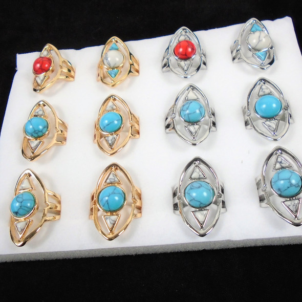 Cool Looking Gold & Silver Southwest Look Rings  12 per bx  .58 ea