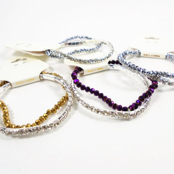 Value Pack Rhinestone Tennis Bracelet & Crystal Stone Bracelet Set  .56 per set