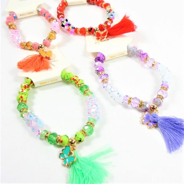 New Colorful Beaded Fashion Bracelet w/ Butterfly & Tassel Charm .60 ea