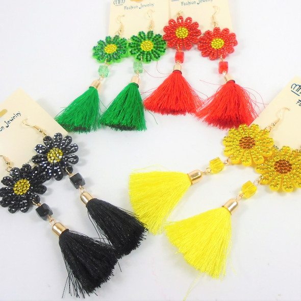 "4"" Colorful Fashion Earrings w/ Tassel  & Crystal Stone Flower Top .60 per pair"