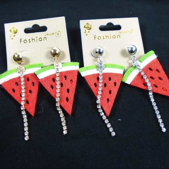 "1.5"" Watermelon Fabric Earrings w/ Dangle Rhinestone Strip  .56 per pair"