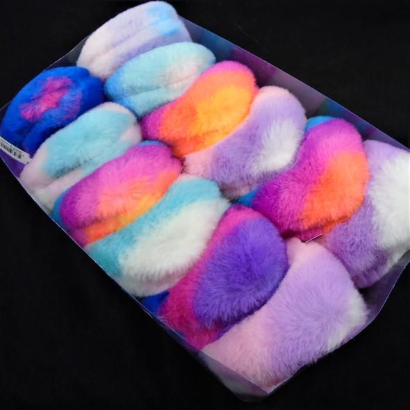 "4"" Faux Fur Pom Pom  Keychain/Clip w/  Multi Color Hearts   .58 ea"