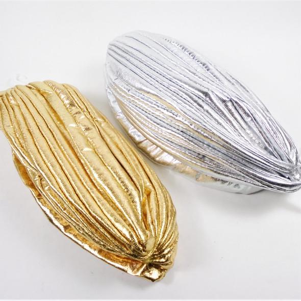 Gold & Silver Metallic Fabric  Turbins 12 per pk    $ 1.08 EA