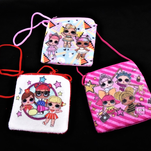 "4"" Velveteen Zipper Bag w/ Strap Mixed Kids Prints  .58 ea"