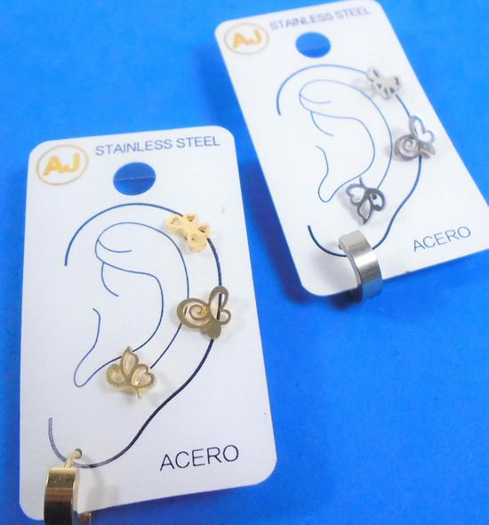 4 Pc Gold & Silver Stainless Steel Earrings Studs Butterfly Theme/Hoop .56 per set