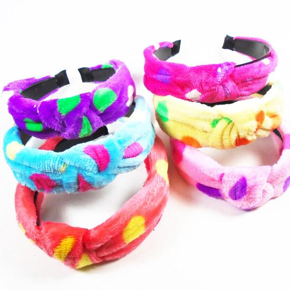 "SPA/Beach Wear 1.5"" Soft Velveteen Fabric Headbands w/ Knot  .58 ea"