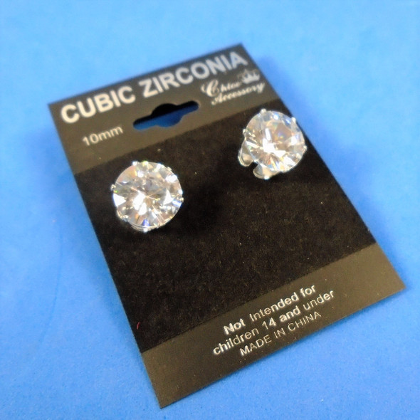 10MM Prong Set Round Shaped Cubic Zircona Earrings Silver Clear Stone   .58 per pair
