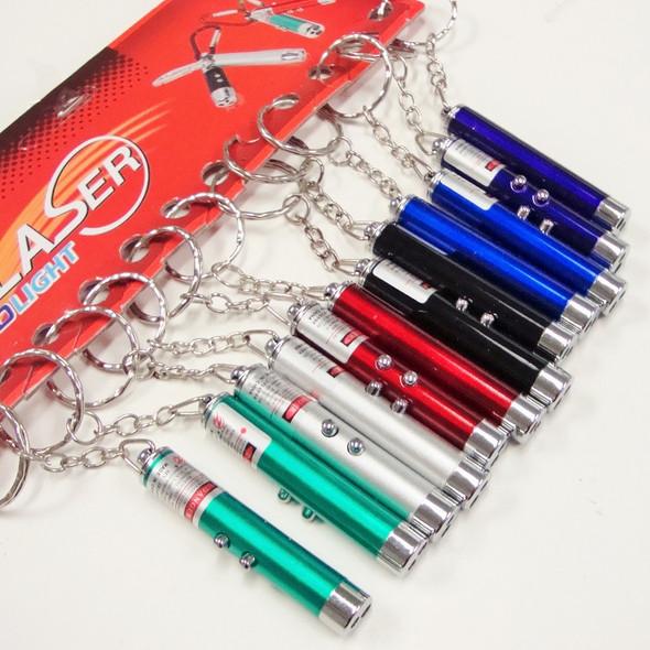 "2.5"" Asst Color 2 in 1 Laser Pointer & LED Light Keychains .65 each"