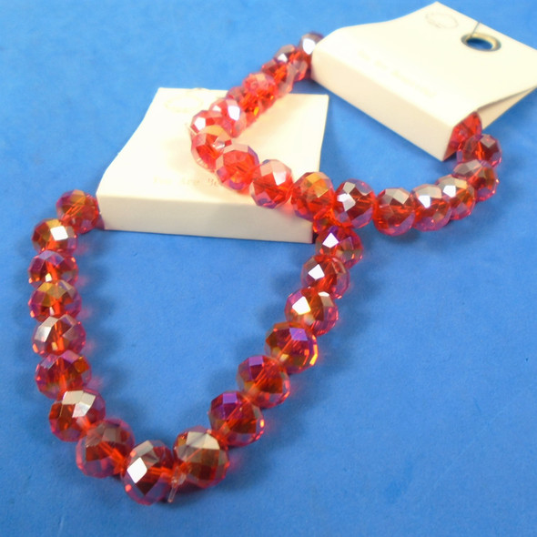 Red Color Crystal Glass Bead Stretch Bracelet w/ Mini Cry, Stones .65 each
