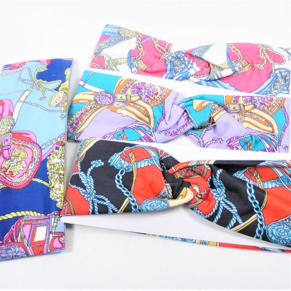 "3"" Wide Designer Look w/ Chain Print  Stretch Headbands 12 per pk .58 each"