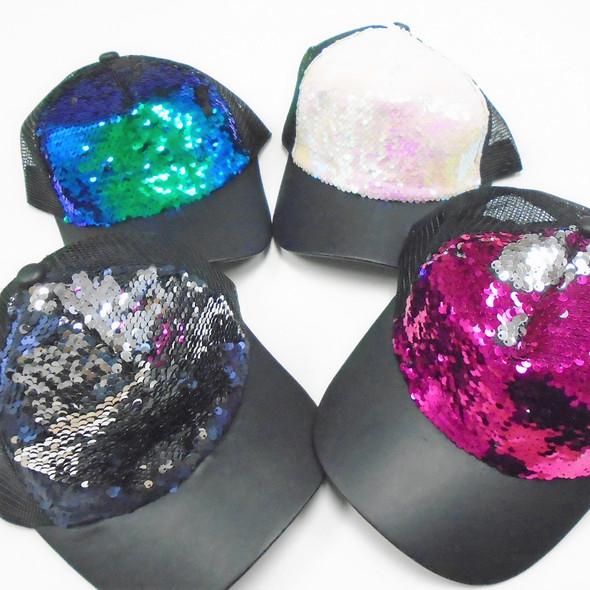 Matt Black Brim Trucker Style Baseball Caps w/ Change Color Sequins 12 per pk $ 2.40 each