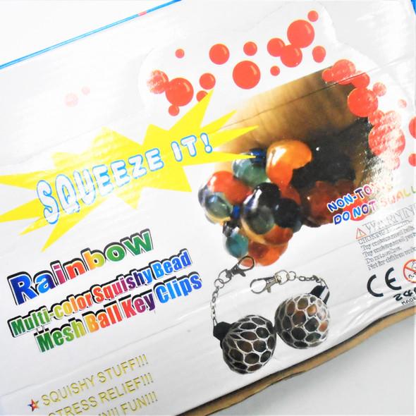 """1.5"""" Multi Rainbow Color Squish Mesh Ball w/ Clip  24 per bx .62 ea"""