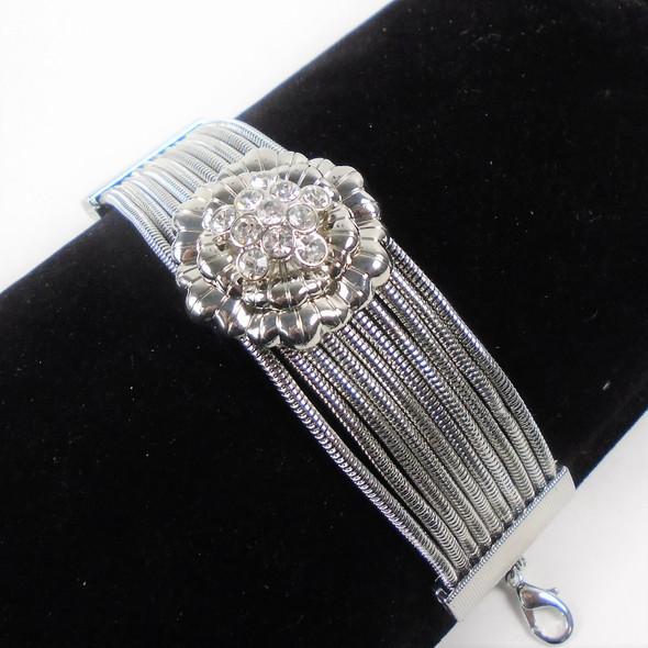 HI Fashion Silver 10 Strand Bracelets w/ Silver Flower w/ Crystal Stones sold by pc $ 2.50 ea