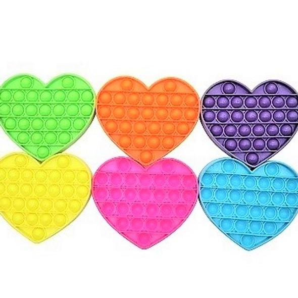 """5"""" Fidget Popper Heart Mixed Neon Colors  12 per pk $ 1.65 ea"""