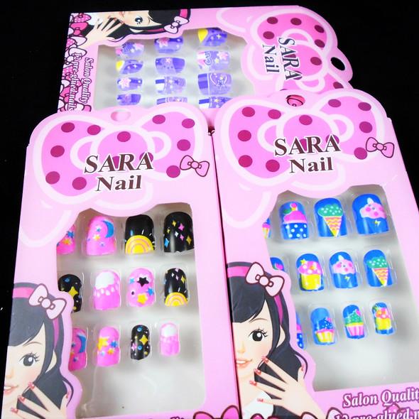Kids Cute Theme Fashion Nails Set of 12 Pre Glued  .54 per set