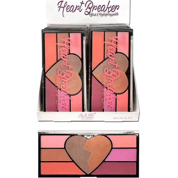 "SPECIAL Big 6.5"" Heart Breaker Eye Shadow Palette & Blush  12 sets per display bx $ 2.25  each"