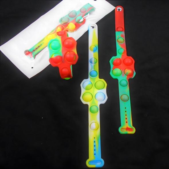 Silicone Fidget Popper Watch Band Bracelets WEAR THE CRAZE Tye Dye 12 per pk