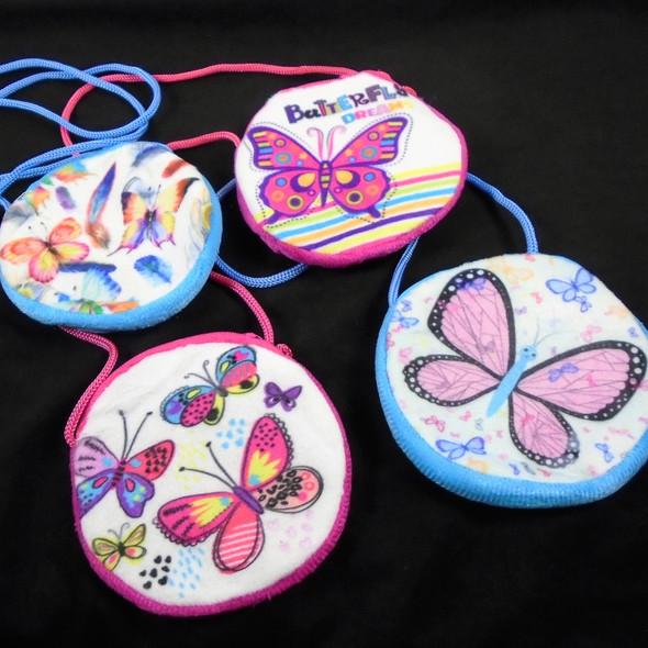 "4"" Round Kids Velveteen Butterfly Theme Zipper Bags w/ Strap  .58 ea"