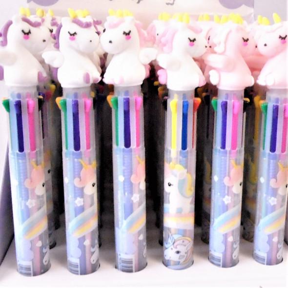 "6.5"" 8 Color Unicorn Novelty Theme Fun Pens  36 per display bx .62 ea"