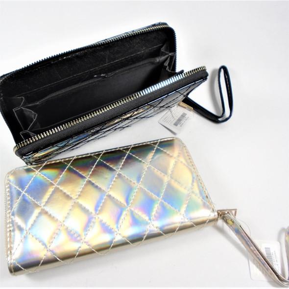 "4"" X 7.5"" Padded 3 Compartment Zipper Wallet w/ Wrislet - sold by dozen"