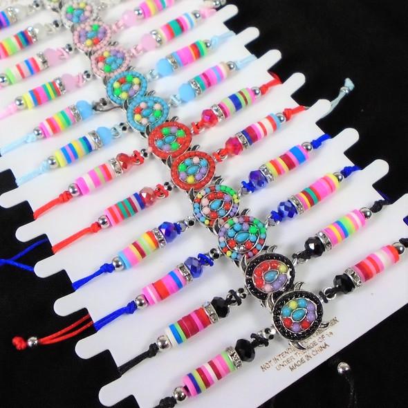 Colorful Beaded Cord Bracelets w/ Seed Bead Turtle  12 - per cd  .56 ea