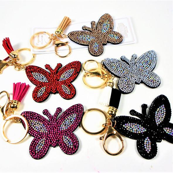 "3"" Crystal Stone Butterfly  Bling Keychains w/ Tassel & Clip 12 per pk .62 each"