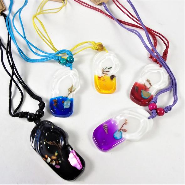 "18"" Colored Cord Necklace w/ Acrylic Flip Flop Pendant  .58 each"