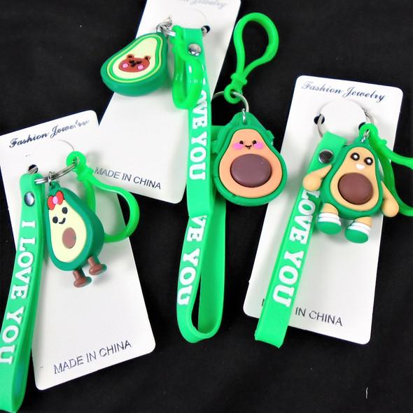 """3"""" Avocado Theme Keychain Bracelet w/ Clip (349)  .60 each"""