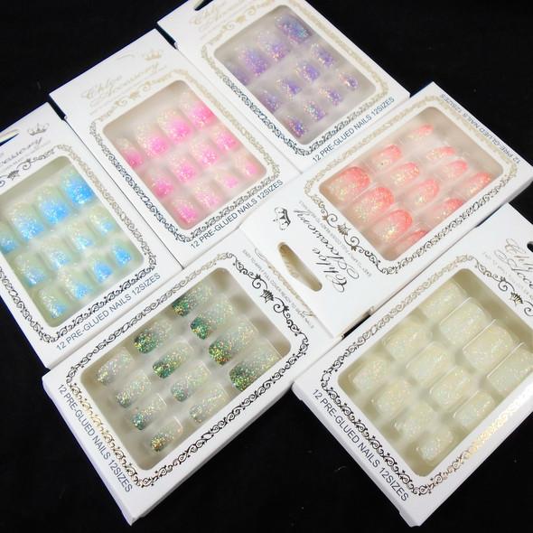 Gradiant Color w/ Glitter  12 Pk Pre Glued Fashion Nails (30) .56 each set