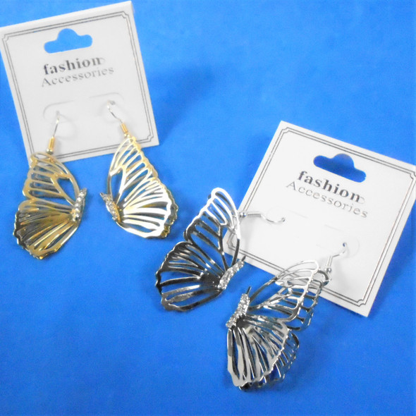"""1.5"""" Gold & Silver Lightweight Butterfly Earrings w/ Mini Crystals  .58 per pair"""