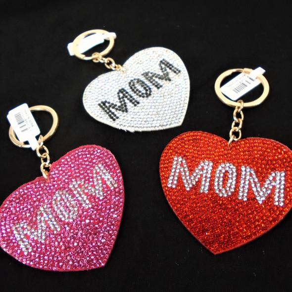 "2.75"" Crystal Stone MOM  Heart Shaped Keychains  .62 ea"