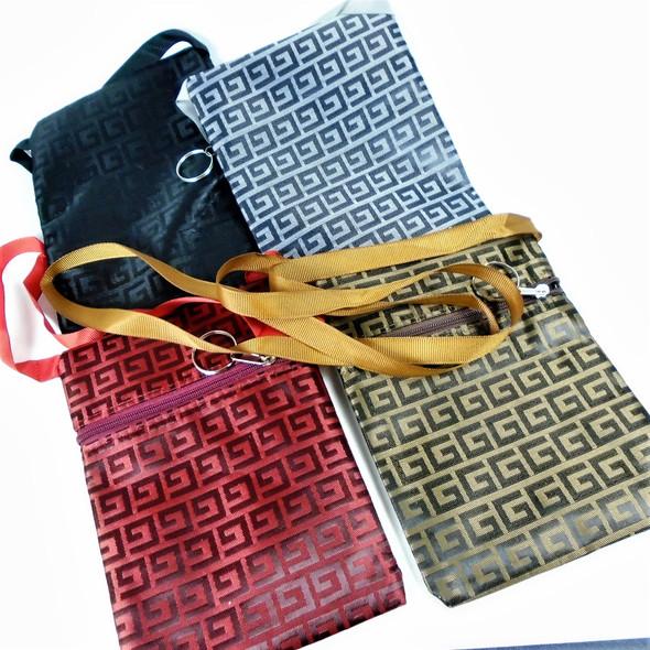 """5"""" X 7""""  Fashion """"G""""  Pattern Zipper Side Bag w/ Strap  .62 ea"""