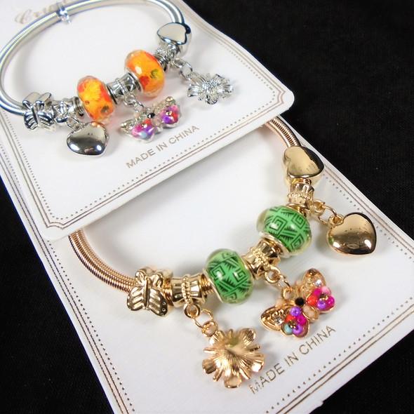 Gold & Silver Spring Style Beaded Bracelet w/ Butterfly & Heart  Charm  .58  ea