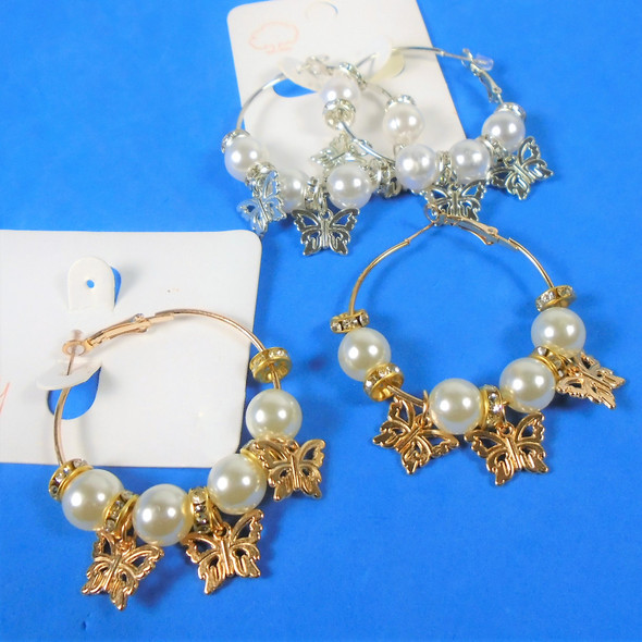 """1.5"""" Gold & Silver Hoop Earrings  w/ Pearls,Cry. Stone & Butterfly Charms .58 per pair"""