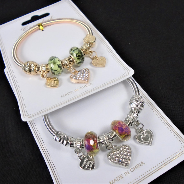 Classy Gold & Silver Spring Style Bracelet w/ Colorful Beads & Heart Charms  .58  each