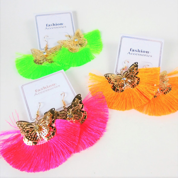 """3"""" Gold Butterfly & Fringe Style Neon Color  Earrings  .58 per pair"""
