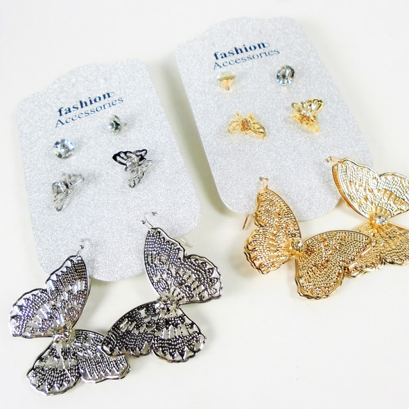 3 Pair Gold & Silver Butterfly & Crystal Stone Earring  .56 per set