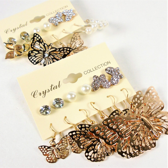 6 Pair Gold Butterfly & Crystal Stone Earring  .56 per set