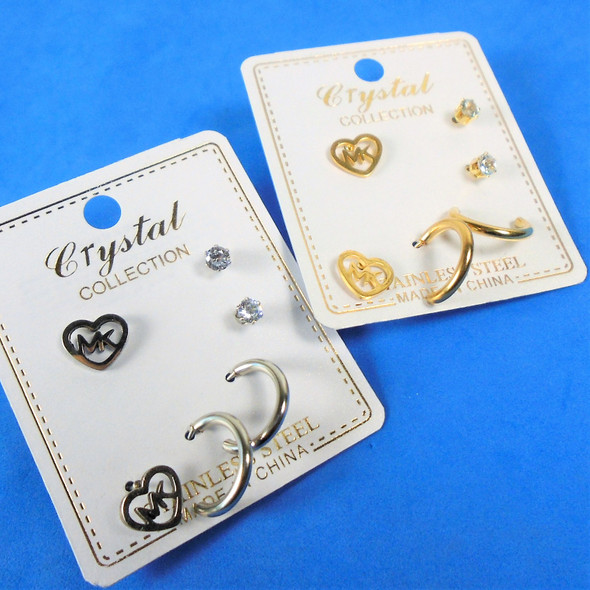 Cute 3 Pair Gold/Silver Stainless Steel Earring Set  .60 per set