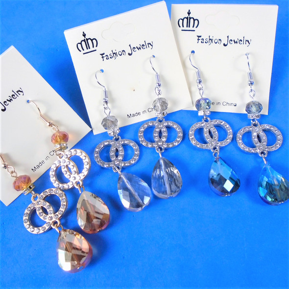 """2.25"""" Crystal Stone Dangle Earring w/ DBL Cry. Stone Circles  .58 per pair"""