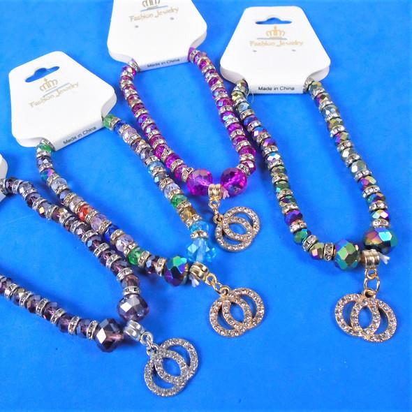 Crystal Beaded  Fashion Stretch Bracelets w/ Crystal DBL Circles    .58 each
