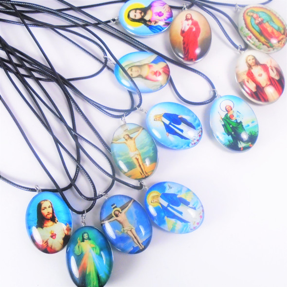 Leather Cord Necklace w/ Oval Glass Pendant Mixed Saints  .58  each