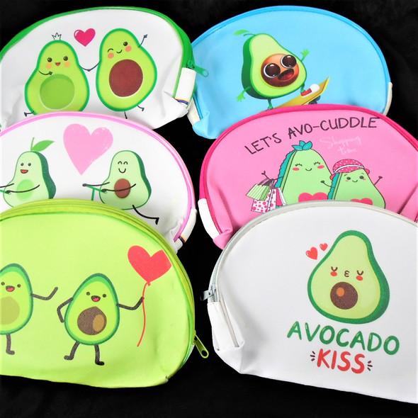 "5.5"" X 8"" Avocado Theme Zipper Cosmetic Bags  Asst Colors  .62 each"